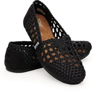 Toms Black Satin Woven Wicker Shoes 7